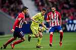 Francisco Portillo Soler (C) of Getafe CF is tackled by Lucas Hernandez (L) of Atletico de Madrid  during the La Liga 2017-18 match between Atletico de Madrid and Getafe CF at Wanda Metropolitano on January 06 2018 in Madrid, Spain. Photo by Diego Gonzalez / Power Sport Images
