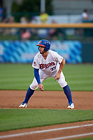 Buffalo Bisons Beau Taylor (37) leads off during an International League game against the Rochester Red Wings on August 26, 2019 at Sahlen Field in Buffalo, New York.  Buffalo defeated Rochester 5-4.  (Mike Janes/Four Seam Images)