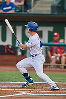 James Outman (47) of the Ogden Raptors bats against the Orem Owlz at Lindquist Field on August 4, 2018 in Ogden, Utah. The Owlz defeated the Raptors 15-12. (Stephen Smith/Four Seam Images)
