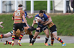 Leinster centre Ben Te'o crashes into Quins centre Steffan Hughes.<br /> British & Irish Cup<br /> Carmarthen Quins v Leinster A<br /> Carmarthen Park<br /> 25.10.14<br /> ©Steve Pope-SPORTINGWALES
