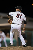 Modesto Nuts starting pitcher John Richy (31) delivers a pitch to the plate during a California League game against the Lake Elsinore Storm at John Thurman Field on May 12, 2018 in Modesto, California. Lake Elsinore defeated Modesto 4-1. (Zachary Lucy/Four Seam Images)