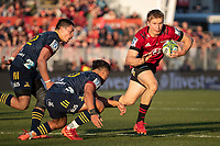 Jack Goodhue in action during the 2020 Super Rugby match between the Crusaders and Highlanders at Orangetheory Stadium in Christchurch, New Zealand on Saturday, 9 August 2020. Photo: Joe Johnson / lintottphoto.co.nz