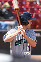 Cedar Rapids Kernels outfielder Max Murphy (13) waits on deck during a game against the Wisconsin Timber Rattlers on April 23rd, 2015 at Fox Cities Stadium in Appleton, Wisconsin.  Cedar Rapids defeated Wisconsin 3-0.  (Brad Krause/Four Seam Images)