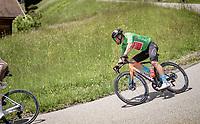 Green Jersey / points leader Sonny Colbrelli (ITA/Bahrain - Victorious) descending from the Col de la Colombière (HC/1618 m/11.7km@5.8%)<br /> <br /> 73rd Critérium du Dauphiné 2021 (2.UWT)<br /> Stage 8 (Final) from La Léchère-Les-Bains to Les Gets (147km)<br /> <br /> ©kramon