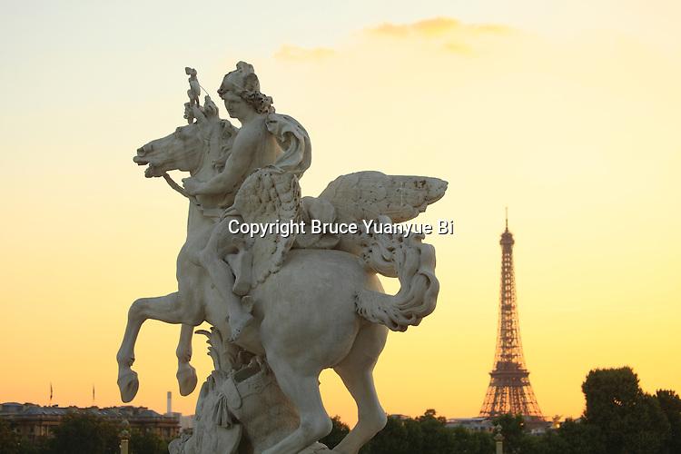The statue of Mercury riding Pegasus decorated the west entrance of Tuileries Garden. City of Paris. Paris