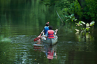 Teens canoeing, New Jersey, USA