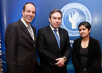 """*** NO FEE PIC***.16/12/2011.(L to R).Anthony RomeroExecutive Director American Civil Liberties Union (ACLU),.Mark Kelly Director Irish Council for Civil Liberties (ICCL),.Shami Chakrabarti Director Liberty,.during the """"The Future of Human Rights Global Techniques Securing Local Impact"""" international seminar at The Westbury Hotel, Dublin..Photo: Gareth Chaney Collins"""