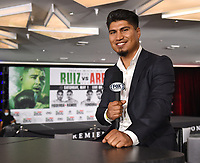 LOS ANGELES, CA - APRIL 30: Mikey Garcia at the official weigh-in for the Andy Ruiz Jr. vs Chris Arreola Fox Sports PBC Pay-Per-View in Los Angeles, California on April 30, 2021. The PPV fight is on May 1, 2021 at Dignity Health Sports Park in Carson, CA. (Photo by Frank Micelotta/Fox Sports/PictureGroup)