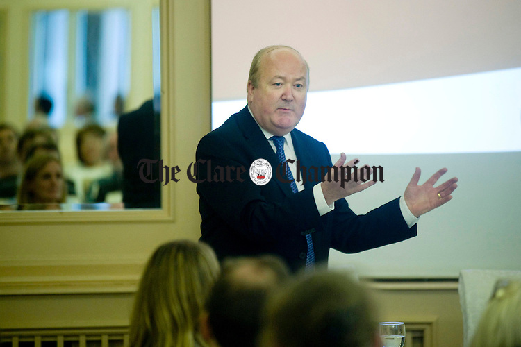 Conor Brady, Garda Ombudsman and former editor of the Irish Times, speaking at the Coroner Society's AGM at the Old Ground Hotel in Ennis. Photograph by Declan Monaghan