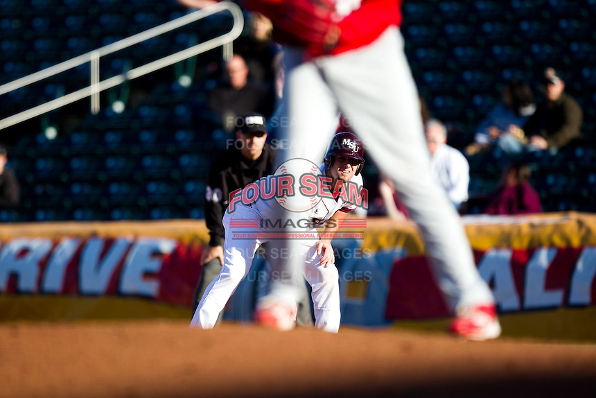 Brent Seifert (4) of the Missouri State Bears leads off first base during a game against the Southern Illinois University- Edwardsville Cougars at Hammons Field on March 9, 2012 in Springfield, Missouri. (David Welker / Four Seam Images)