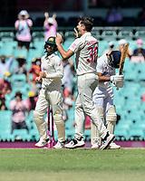 9th January 2021; Sydney Cricket Ground, Sydney, New South Wales, Australia; International Test Cricket, Third Test Day Three, Australia versus India; Pat Cummins of Australia celebrates the wicket of Ajinkya Rahane of India