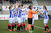 20140315 - WESTERLO , BELGIUM : Heerenveen players pictured motivating eachother  during the soccer match between the women teams of SK Lierse Dames  and SC Heerenveen Vrouwen , on the 19th matchday of the BeNeleague competition Saturday 15 March 2014 in Westerlo . PHOTO DAVID CATRY