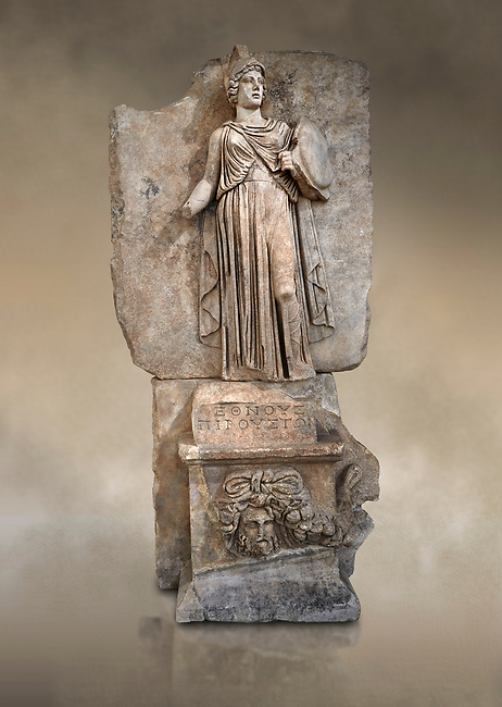 """Roman Sebasteion relief sculpture personifing a Balkan Warrior  Aphrodisias Museum, Aphrodisias, Turkey.  Against an art background.<br /> <br /> The relief figure personifies a Balkan Warrior tribe defeated by Tiberius in AD 6-8 before he became emperor. She wears a classical dress, cloak and helmet and carries a small shield and probably once a spear. A builder's inscription, """"Pirouston"""", written above the shield, ensured the relief was put on the right base"""