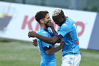 Victor Osimhen of SSC Napoli celebrates with Dries Mertens after scoring a goal  Dries Mertens of SSC Napoli<br /> during the friendly football match between SSC Napoli and L Aquila 1927 at stadio Patini in Castel di Sangro, Italy, August 28, 2020. <br /> Photo Cesare Purini / Insidefoto