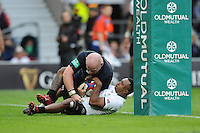 Dan Cole of England is held up over the line during the Old Mutual Wealth Series match between England and Fiji at Twickenham Stadium on Saturday 19th November 2016 (Photo by Rob Munro)