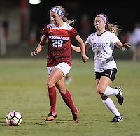 NWA Democrat-Gazette/ANDY SHUPE<br /> Arkansas' Hannah Neece (29) pushes the ball past Vanderbilt's Brook Colangelo Thursday, Oct. 6, 2016, during the second half of play at Razorback Field in Fayetteville. Visit nwadg.com/photos to see more photographs from the game.
