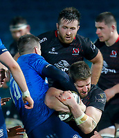 8th January 2021; RDS Arena, Dublin, Leinster, Ireland; Guinness Pro 14 Rugby, Leinster versus Ulster; Stuart McCloskey of Ulster is held up in the tackle by Johnny Sexton (c) of Leinster