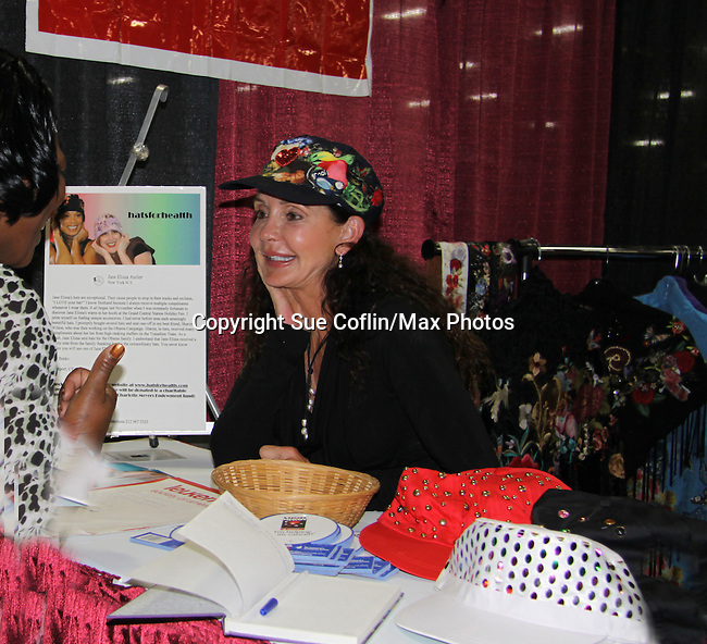 """General Hospital's Jackie Zeman (in Hats for Health booth at Women's Expo) wearing Hats for Health as Daytime's TV and Broadway stars get involved in helping launch Jane Elissa's """"Hats For Health"""" to promote awareness and to raise money for Leukemia/Lymphoma cancer research and patient aid. The Hats For Health will be available through Jane Elissa at 917-325-1085 and through the new website """"Hats For Health"""". Jackie Zeman was at the 8th Annual Connecticut Women's Expo presented by Comcast on September 11 & 12, 2010, Hartford, Connecticut.  (Photo by Sue Coflin/Max Photos)"""