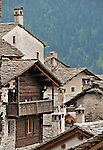 Slate roofs of the houses in Soglio, Switzerland a town the Bregaglia Valley which dates back to 1219 and is said to be one of the most picturesque towns in Switzerland; Graubunden canton