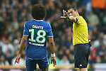 WfL Wolfsburg's Dante have words with the referee Viktor Kassai during Champions League 2015/2016 Quarter-finals 2nd leg match. April 12,2016. (ALTERPHOTOS/Acero)