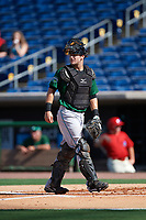 Daytona Tortugas catcher Chris Okey (25) during the first game of a doubleheader against the Clearwater Threshers on July 25, 2017 at Spectrum Field in Clearwater, Florida.  Daytona defeated Clearwater 4-1.  (Mike Janes/Four Seam Images)