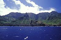Dramatic seacliffs of Na Pali coastline seen from the ocean, Kauai, Hawaii