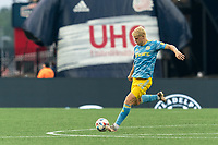 FOXBOROUGH, MA - AUGUST 8: Jakob Glesnes #5 of Philadelphia Union passes the ball during a game between Philadelphia Union and New England Revolution at Gillette Stadium on August 8, 2021 in Foxborough, Massachusetts.
