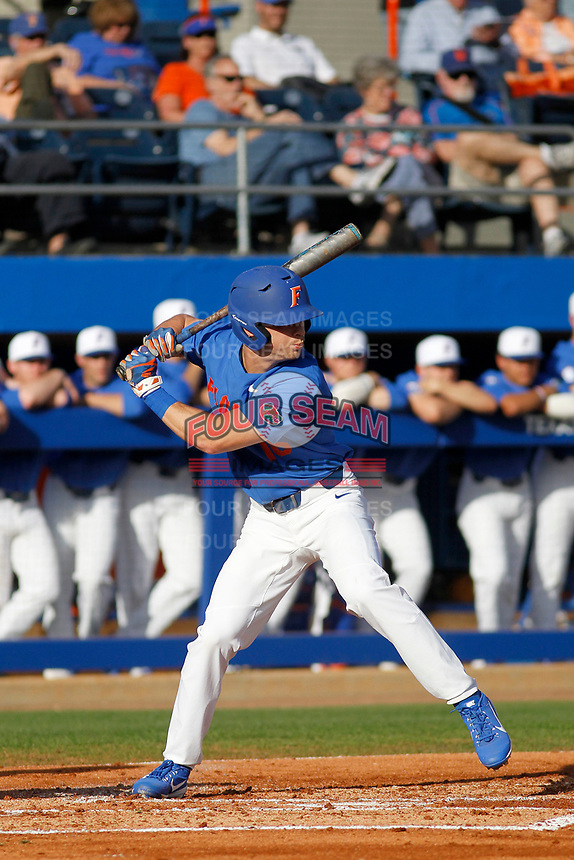 University of Florida Gators outfielder Wil Dalton (16) at bat during a game against the Siena Saints at Alfred A. McKethan Stadium in Gainesville, Florida on February 17, 2018. Florida defeated Siena 10-2. (Robert Gurganus/Four Seam Images)