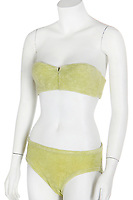BNPS.co.uk (01202) 558833. <br /> Pic: KerryTaylorAuctioneers/BNPS<br /> <br /> The yellow bikini famous worn by Dame Barbara Windsor in Carry on Camping has been discovered 42 years later.<br /> <br /> It includes the ill-fitting bikini top the young actress wore in the scene in which it suddenly pings off while she stretches during an exercise class. <br /> <br /> The two-piece bikini is being sold by Kerry Taylor Auctioneers of London.
