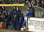 Kilmarnock v St Johnstone..24.11.12      SPL.Kenny Shiels in the stands after being sent there by ref Stevie O'Reilly..Picture by Graeme Hart..Copyright Perthshire Picture Agency.Tel: 01738 623350  Mobile: 07990 594431
