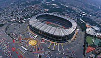 aerial photograph of the Aztec Stadium, Iztapala, Mexico City, designed by Pedro Ramirez Velazquez and Rafael Mijares | fotografía aérea del Estadio Azteca, Iztapala, Ciudad de México