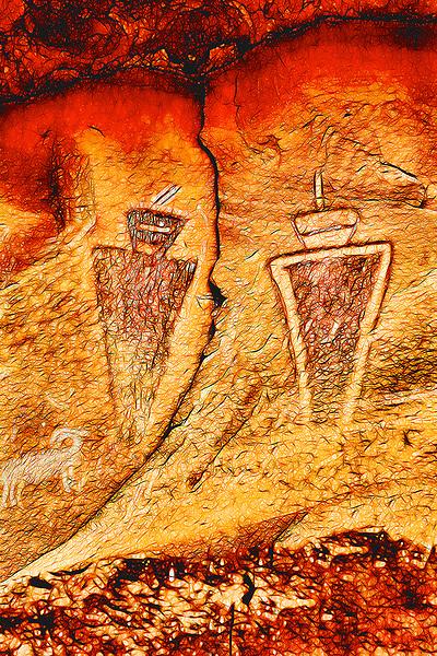 Sego Canyon, Two Figures & Animal