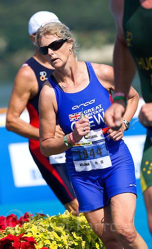 11 SEP 2011 - BEIJING, CHN - Christine Glew (GBR) - 2011 ITU World Age Group Olympic Distance Triathlon Championships .(PHOTO (C) NIGEL FARROW)