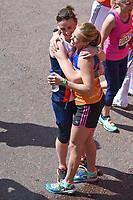 Helen Glover and Heather Stanning<br /> carried away by St John's Ambulance at the finish line on The Mall at the 2017 London Marathon, London. <br /> <br /> <br /> ©Ash Knotek  D3254  23/04/2017