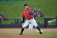 San Diego State Aztecs relief pitcher Jonny Guzman (23) in action against the UNCG Spartans at Springs Brooks Stadium on February 16, 2020 in Conway, South Carolina. The Spartans defeated the Aztecs 11-4.  (Brian Westerholt/Four Seam Images)