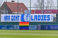 Banner KAA Gent ladies and rainbow flag pictured before a female soccer game between  AA Gent Ladies and RSC Anderlecht on the 17th matchday of the 2020 - 2021 season of Belgian Scooore Womens Super League , saturday 20 th of March 2021 in Oostakker , Belgium . PHOTO SPORTPIX.BE | SPP | STIJN AUDOOREN