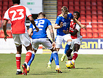 St Johnstone v Fleetwood Town…24.07.21  McDiarmid Park<br />Reece Devine fends off Shayden Morris<br />Picture by Graeme Hart.<br />Copyright Perthshire Picture Agency<br />Tel: 01738 623350  Mobile: 07990 594431