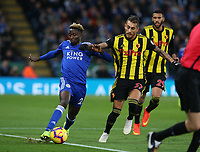 Leicester City's Wilfred Ndidi is challenged by Watford's Roberto Pereyra <br /> <br /> Photographer Stephen White/CameraSport<br /> <br /> The Premier League - Leicester City v Watford - Saturday 1st December 2018 - King Power Stadium - Leicester<br /> <br /> World Copyright © 2018 CameraSport. All rights reserved. 43 Linden Ave. Countesthorpe. Leicester. England. LE8 5PG - Tel: +44 (0) 116 277 4147 - admin@camerasport.com - www.camerasport.com