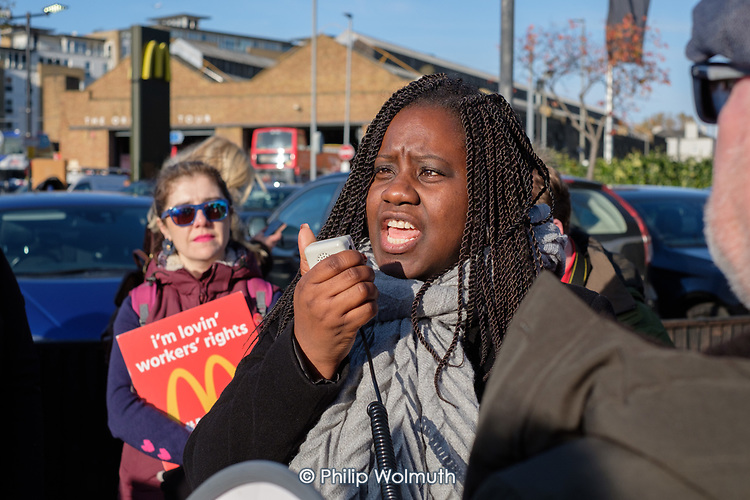 Marsha de Cordova, Labour Party general election candidate for Battersea.  McDonalds workers, on strike over low pay in  six South London branches, protest outside the chain's WandsworthTown branch.