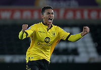 Pictured: Khalid Abdo of Aston Villa celebrates after the end of the game Monday 25 April 2016<br /> Re: Play Off semi final, Swansea City AFC U21 v Aston Villa FC U21 at the Liberty Stadium, Swansea, UK