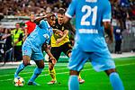 09.08.2019, Merkur Spiel-Arena, Düsseldorf, GER, DFB Pokal, 1. Hauptrunde, KFC Uerdingen vs Borussia Dortmund , DFB REGULATIONS PROHIBIT ANY USE OF PHOTOGRAPHS AS IMAGE SEQUENCES AND/OR QUASI-VIDEO<br /> <br /> im Bild | picture shows:<br /> Lukasz Piszczek (Borussia Dortmund #26) im Duell mit Franck Evina (KFC Uerdingen #18), <br /> <br /> Foto © nordphoto / Rauch