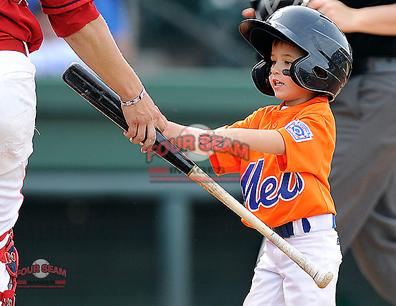 An honorary bat boy does his job during a game between the Lexington Legends and the Greenville Drive on Sunday, April 27, 2014, at Fluor Field at the West End in Greenville, South Carolina. Greenville won, 21-6. (Tom Priddy/Four Seam Images)