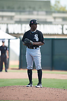 Chicago White Sox starting pitcher Brayan Herrera (32) gets ready to deliver a pitch during an Instructional League game against the Oakland Athletics at Lew Wolff Training Complex on October 5, 2018 in Mesa, Arizona. (Zachary Lucy/Four Seam Images)