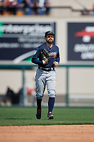 Atlanta Braves center fielder Ender Inciarte (11) jogs back to the dugout during a Grapefruit League Spring Training game against the Detroit Tigers on March 2, 2019 at Publix Field at Joker Marchant Stadium in Lakeland, Florida.  Tigers defeated the Braves 7-4.  (Mike Janes/Four Seam Images)