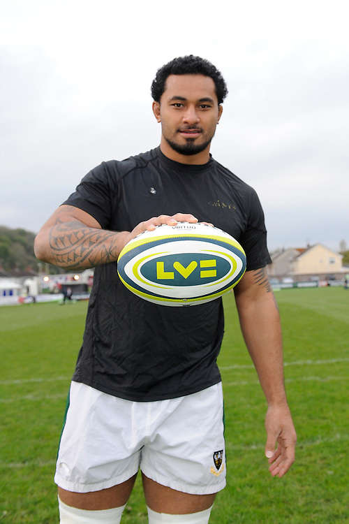 Samu Manoa of Northampton Saints with the match ball before the LV= Cup second round match between Ospreys and Northampton Saints at Riverside Hardware Brewery Field, Bridgend (Photo by Rob Munro)