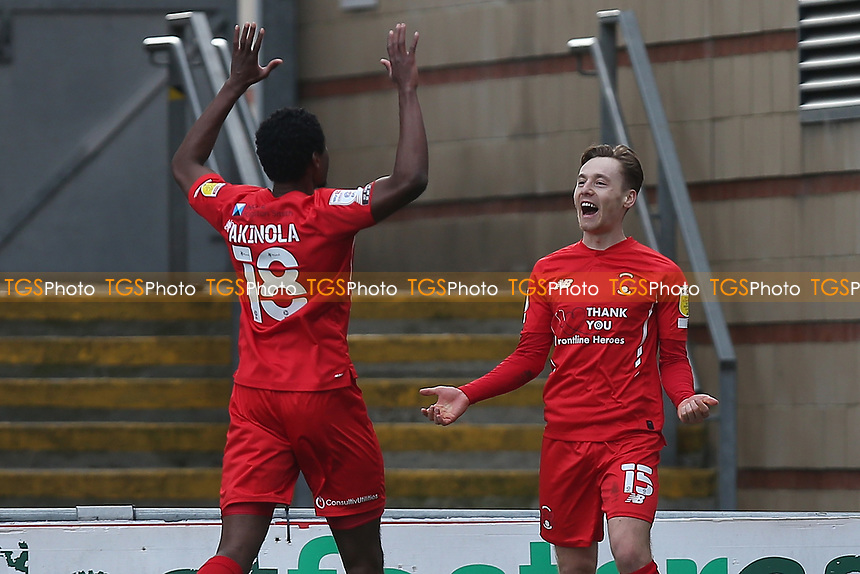 Dan Kemp of Leyton Orient scores the second goal for his team and celebrates during Leyton Orient vs Oldham Athletic, Sky Bet EFL League 2 Football at The Breyer Group Stadium on 27th March 2021