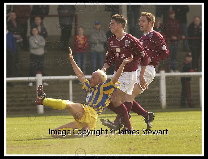 12/04/2003                   Copright Pic : James Stewart.File Name : stewart-arbroath v qots 02.STEPHEN BOWIE ISS PULLED BACK BY KEVIN MCMULLEN....James Stewart Photo Agency, 19 Carronlea Drive, Falkirk. FK2 8DN      Vat Reg No. 607 6932 25.Office     : +44 (0)1324 570906     .Mobile  : +44 (0)7721 416997.Fax         :  +44 (0)1324 570906.E-mail  :  jim@jspa.co.uk.If you require further information then contact Jim Stewart on any of the numbers above.........