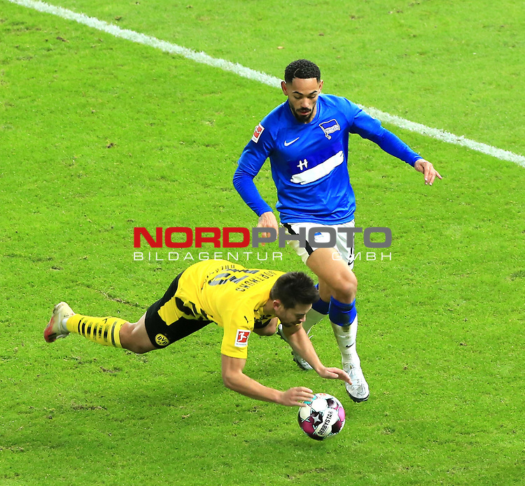 21.11.2020, OLympiastadion, Berlin, GER, DFL, 1.FBL, Hertha BSC VS. Borussia Dortmund, <br /> DFL  regulations prohibit any use of photographs as image sequences and/or quasi-video<br /> im Bild Carneiro da Cunha (Hertha BSC Berlin #10), Raphael Guerreiro (Borussia Dortmund #13)<br /> <br />       <br /> Foto © nordphoto / Engler