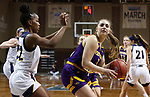 SIOUX FALLS, SD - MARCH 7: Jada Mickens #32 of the UMKC Kangaroos applies pressure as Alissa Dins #3 of the Western Illinois Leathernecks during the Summit League Basketball Tournament at the Sanford Pentagon in Sioux Falls, SD. (Photo by Richard Carlson/Inertia)