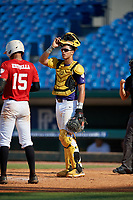 Rene Lastres (6) of Miami Christian High School in Hialeah Gardens, FL during the Perfect Game National Showcase at Hoover Metropolitan Stadium on June 20, 2020 in Hoover, Alabama. (Mike Janes/Four Seam Images)